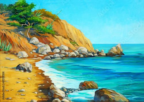 krajobraz-morza-srodziemnego,-plaza,-zatoka,-kamienie,-niebo