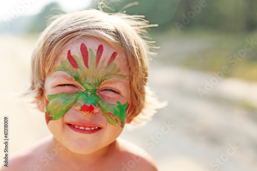 boy child with a mask on her face