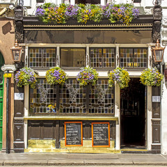 Facade of a typical pub, London, UK