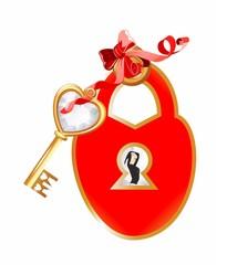 dekoracja z kłódką i kluczem ,