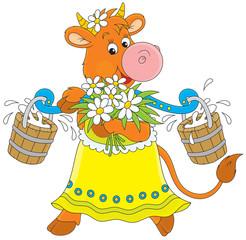 cow walking with bucketful of milk