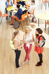 Overhead Shot Of Female Students Standing In Cafeteria
