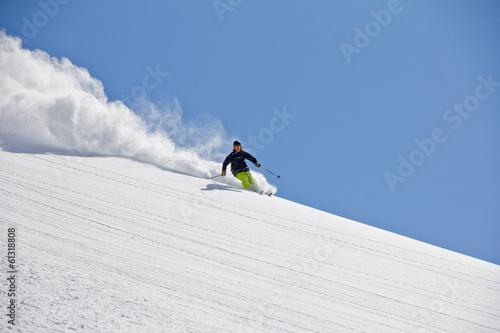 Fotobehang Wintersporten Skier in deep powder, extreme freeride