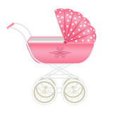 Sweet pink pram isolated on white