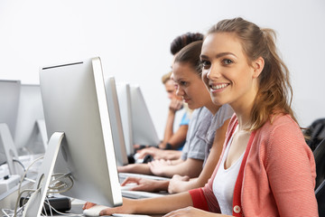Group Of Students In Computer Class