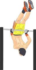 vector athlete on the horizontal bar