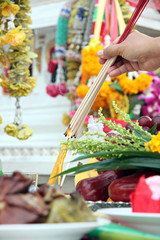 Food and Fruits to worship of Buddha.