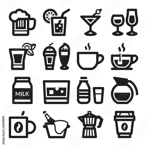 Beverage flat icons. Black