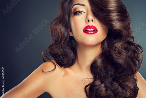 Model with beautiful curle  hair Poster