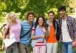 Group portrait of happy college friends