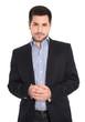 Junger Business Mann isoliert auf Weiß in Sakko und Hemd