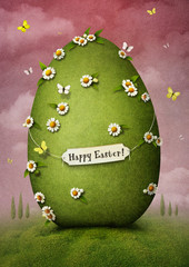Greeting card with green Easter egg.