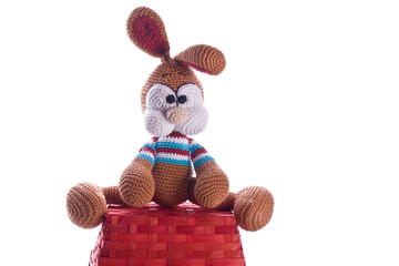 easter bunny sit an red basket