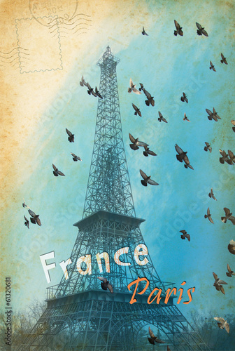 Vintage postcard from tour in Paris with Eiffel Tower