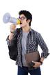 Student shouting through megaphone