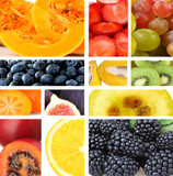 Collage of fresh fruits and berries
