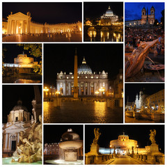Rome and Vatican in the night