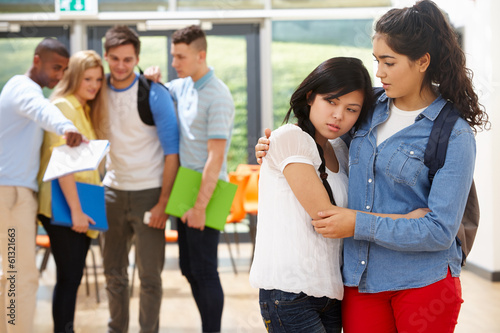 Friend Comforting Victim Of Bullying At School