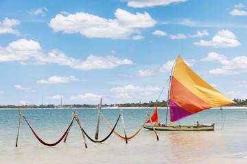 sail boat and hammocks at the Paradise Lake (Jericoacoara)