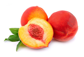 Sweet peaches with leafs