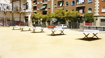 Mesas de ping pong en zona de ocio