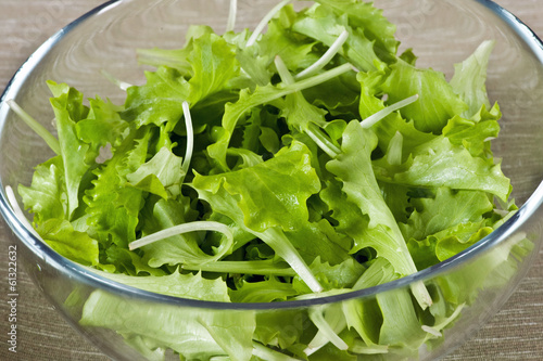 Fresh leafy green salad in a glass bowl