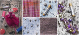set sewing tools and samples textile fabric
