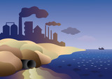 Plant merges the toxic waste into the sea poster