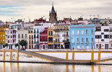 Cityscape River Guadalquivr Morning Seville Andalusia Spain