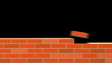 Building Wall of red bricks . Industrial 3d animation.