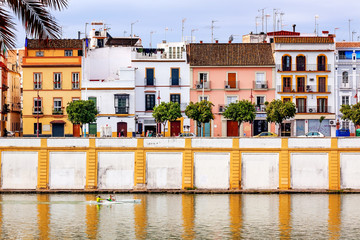 Cityscape Boats River Seville Andalusia Spain