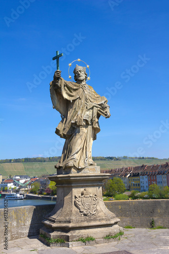 Statue of St John of Nepomuk in Wurzburg, Germany.