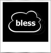 bless word business concept, photo frame isolated on white