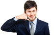 Businessman gesturing a phone call