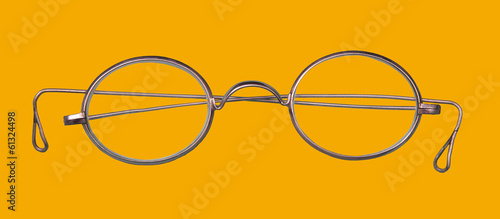 Glasses  on yellow