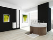 Modern black bathroom interior with wooden round bathtub
