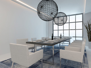 Modern dining room interior with table setting