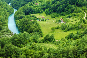 River Tara in village. Natural landscape, Montenegro