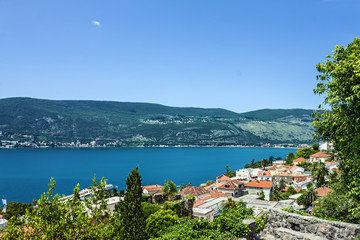 Kotor bay, Montenegro. Panoramic view on town