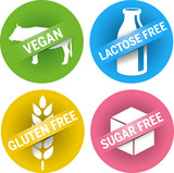four icons Gluten, sugar, lactose free + vegan - 61325887