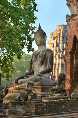 The ruins of the ancient city. Buddha statue.