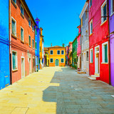 Venice landmark, Burano island street, colorful houses, Italy