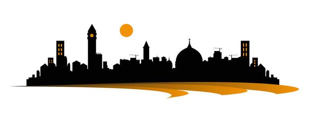 silhouette di metropoli su sfondo bianco