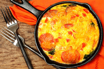 Skillet Peperoni and Spinach Egg Scramble