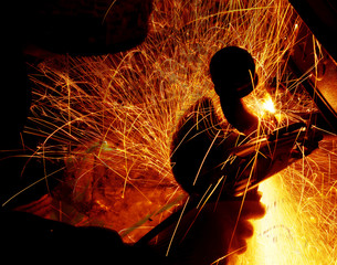 sparks during welding car bottom