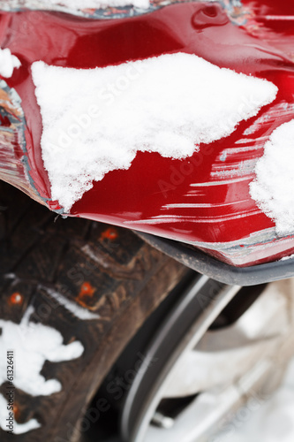 damages of car after winter traffic accident