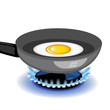Vector fried egg on a frying pan