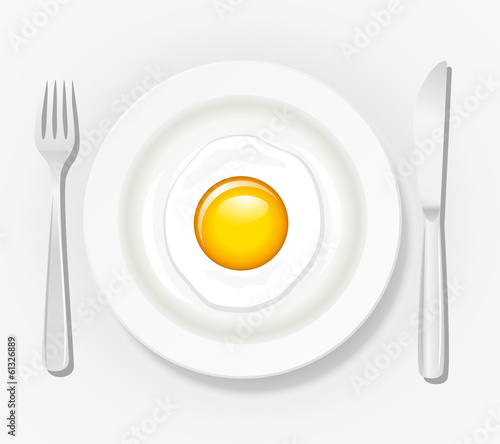 Egg on a plate with cutlery