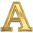 3d brushed golden letter - A. Isolated on white.