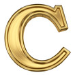 3d brushed golden letter - C. Isolated on white.